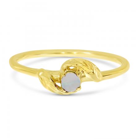 14K Yellow Gold 3mm Round Opal Birthstone Leaf Ring