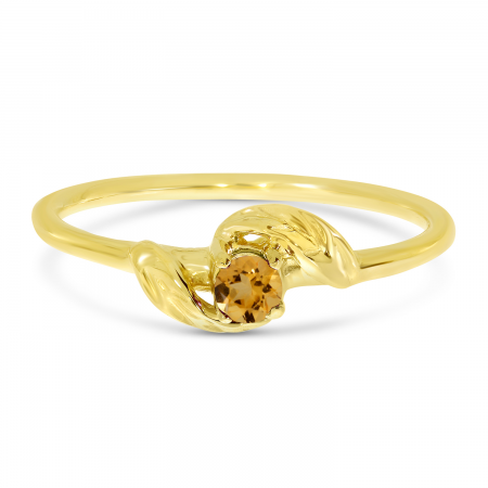 14K Yellow Gold 3mm Round Citrine Birthstone Leaf Ring