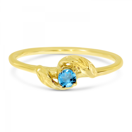 14K Yellow Gold 3mm Round Blue Topaz Birthstone Leaf Ring