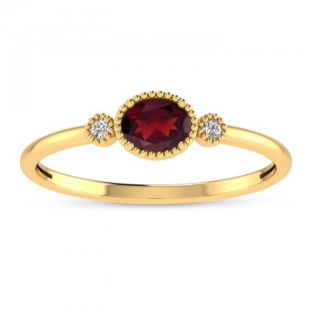 14K Yellow Gold Oval Garnet Millgrain Birthstone Ring