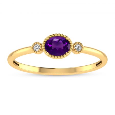 14K Yellow Gold Oval Amethyst Millgrain Birthstone Ring