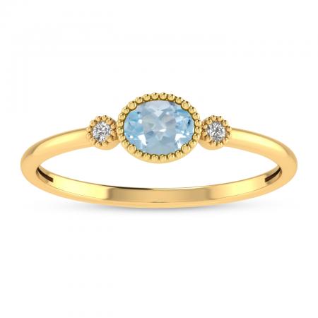 14K Yellow Gold Oval Aquamarine Millgrain Birthstone Ring