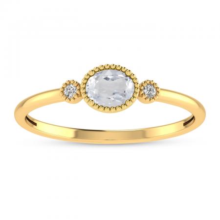 14K Yellow Gold Oval White Topaz Millgrain Birthstone Ring