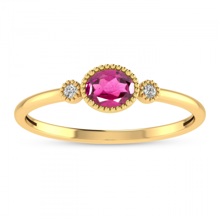 14K Yellow Gold Oval Pink Tourmaline Millgrain Birthstone Ring