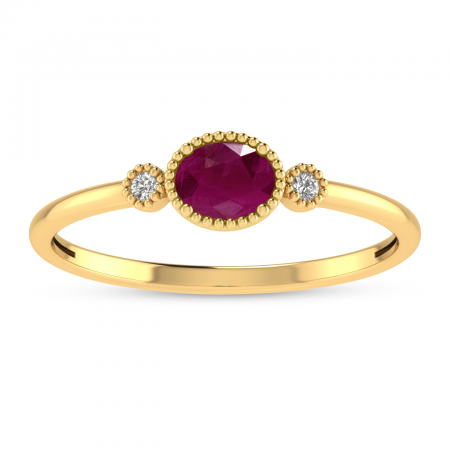 14K Yellow Gold Oval Ruby Millgrain Birthstone Ring