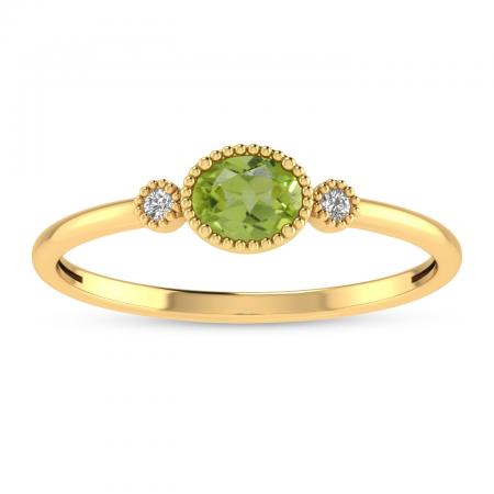 14K Yellow Gold Oval Peridot Millgrain Birthstone Ring
