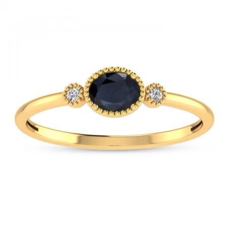 14K Yellow Gold Oval Sapphire Millgrain Birthstone Ring