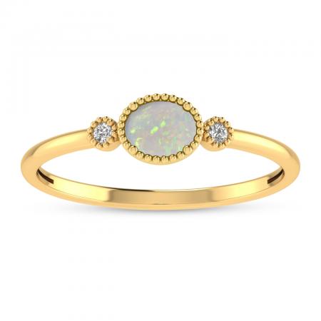 14K Yellow Gold Oval Opal Millgrain Birthstone Ring