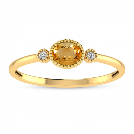 14K Yellow Gold Oval Citrine Millgrain Birthstone Ring