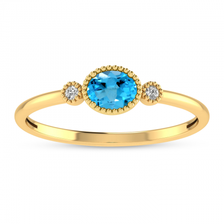 14K Yellow Gold Oval Blue Topaz Millgrain Birthstone Ring