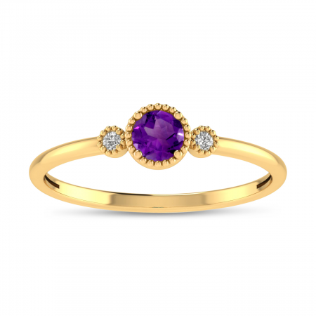 14K Yellow Gold 4mm Round Amethyst Millgrain Birthstone Ring