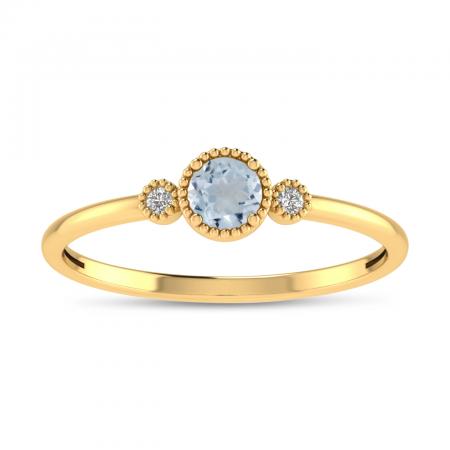 14K Yellow Gold 4mm Round Aquamarine Millgrain Birthstone Ring