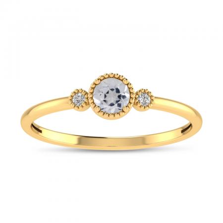 14K Yellow Gold 4mm Round White Topaz Millgrain Birthstone Ring