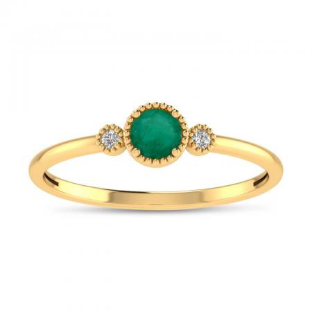 14K Yellow Gold 4mm Round Emerald Millgrain Birthstone Ring