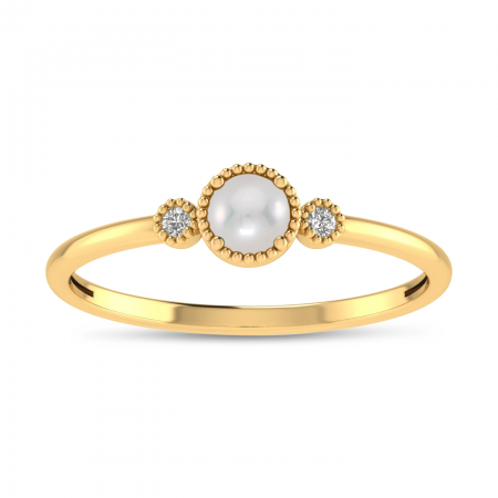 14K Yellow Gold 4mm Round Pearl Millgrain Birthstone Ring