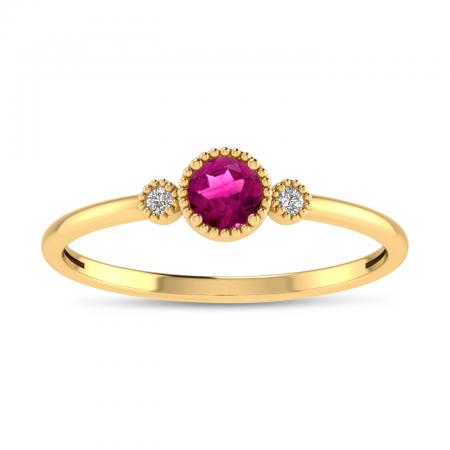 14K Yellow Gold 4mm Round Pink Tourmaline Millgrain Birthstone Ring