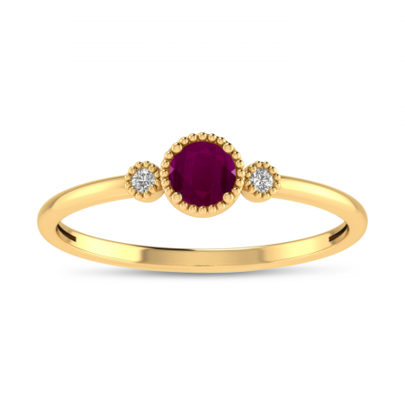 14K Yellow Gold 4mm Round Ruby Millgrain Birthstone Ring