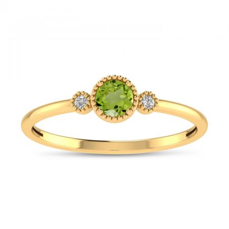 14K Yellow Gold 4mm Round Peridot Millgrain Birthstone Ring
