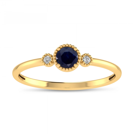 14K Yellow Gold 4mm Round Sapphire Millgrain Birthstone Ring