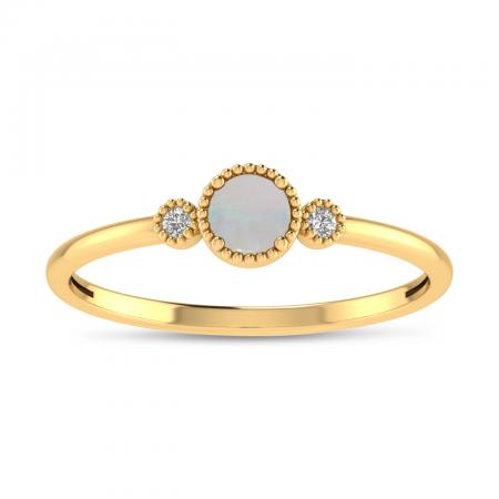 14K Yellow Gold 4mm Round Opal Millgrain Birthstone Ring