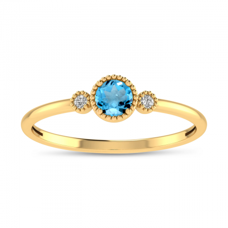 14K Yellow Gold 4mm Round Blue Topaz Millgrain Birthstone Ring