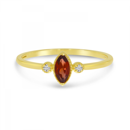 14K Yellow Gold Marquis Garnet Birthstone Ring