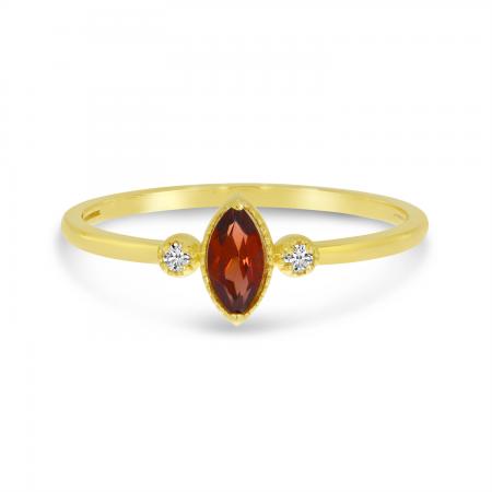 10K Yellow Gold Marquis Garnet Birthstone Ring
