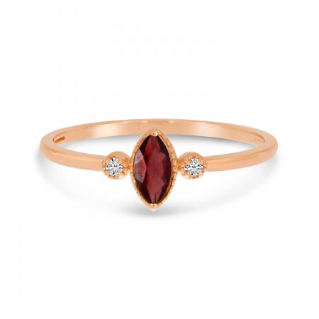 10K Rose Gold Marquis Garnet Birthstone Ring