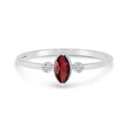 10K White Gold Marquis Garnet Birthstone Ring