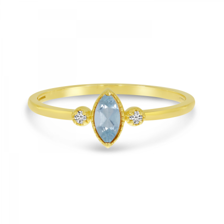 14K Yellow Gold Marquis Aquamarine Birthstone Ring