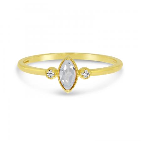 14K Yellow Gold Marquis White Topaz Birthstone Ring