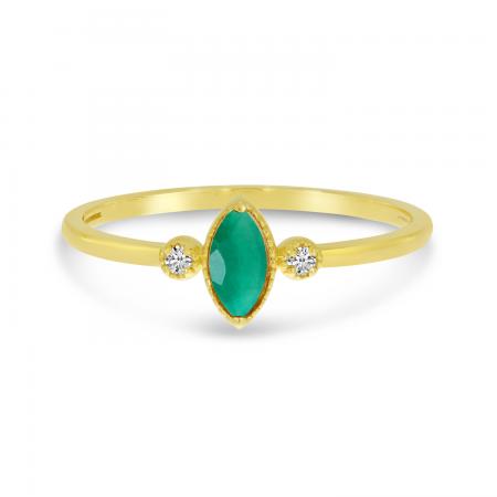 14K Yellow Gold Marquis Emerald Birthstone Ring