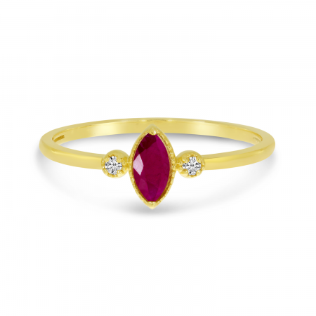 14K Yellow Gold Marquis Ruby Birthstone Ring