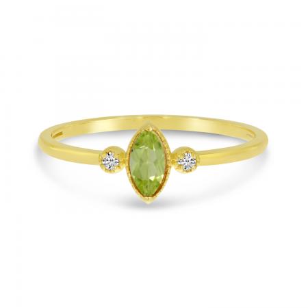 14K Yellow Gold Marquis Peridot Birthstone Ring