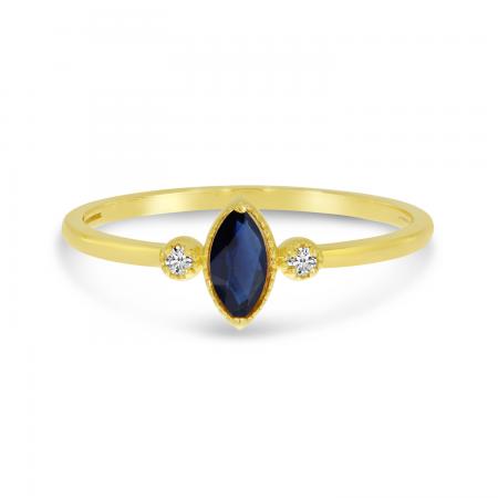 14K Yellow Gold Marquis Sapphire Birthstone Ring