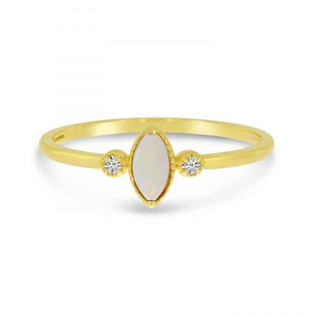 14K Yellow Gold Marquis Opal Birthstone Ring