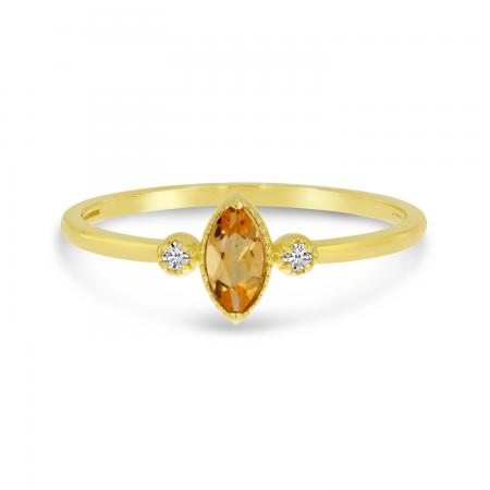 14K Yellow Gold Marquis Citrine Birthstone Ring