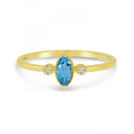 14K Yellow Gold Marquis Blue Topaz Birthstone Ring