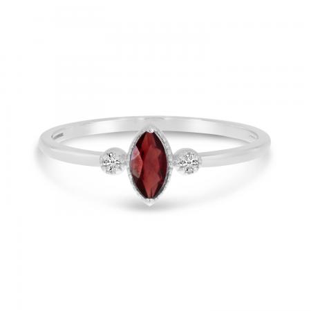 14K White Gold Marquis Garnet Birthstone Ring