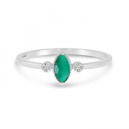 14K White Gold Marquis Emerald Birthstone Ring