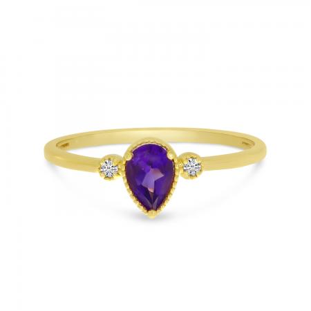 10K Yellow Gold Pear Amethyst Birthstone Ring