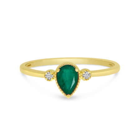 10K Yellow Gold Pear Emerald Birthstone Ring
