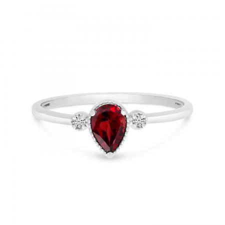 10K White Gold Pear Garnet Birthstone Ring