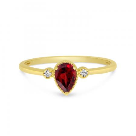 14K Yellow Gold Pear Garnet Birthstone Ring