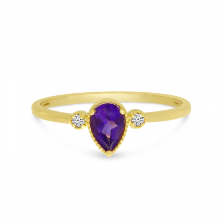 14K Yellow Gold Pear Amethyst Birthstone Ring
