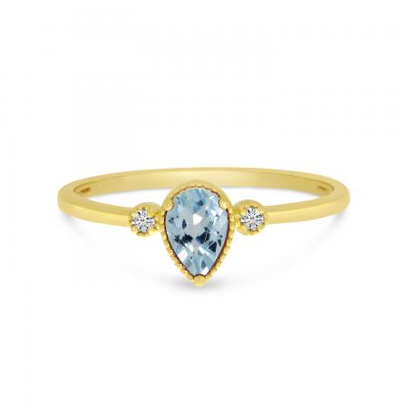 14K Yellow Gold Pear Aquamarine Birthstone Ring