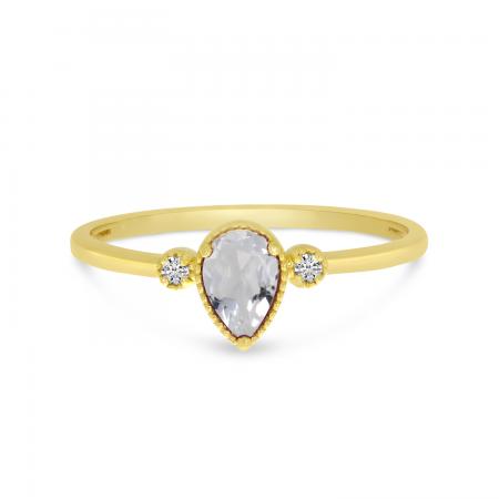 14K Yellow Gold Pear White Topaz Birthstone Ring