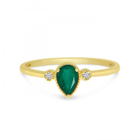 14K Yellow Gold Pear Emerald Birthstone Ring