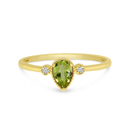 14K Yellow Gold Pear Peridot Birthstone Ring