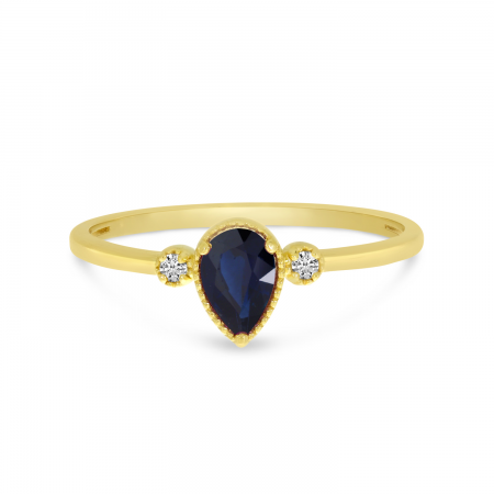 14K Yellow Gold Pear Sapphire Birthstone Ring